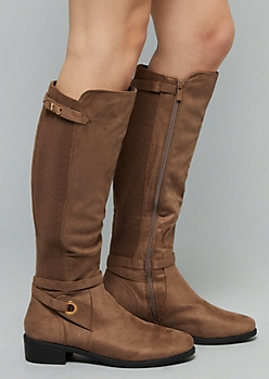 Taupe Ribbed Knit Ankle Strap Knee High Boots - Wide Width
