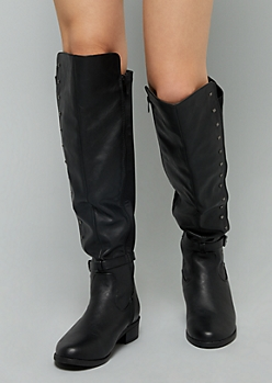 Black Studded Ankle Strap Knee High Boots - Wide Width