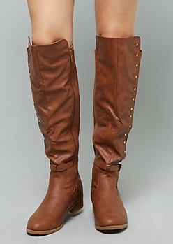 Cognac Studded Ankle Strap Knee High Boots - Wide Width