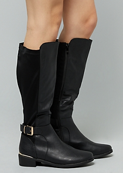 Black Metallic Side Buckle Knee High Boots - Wide Width