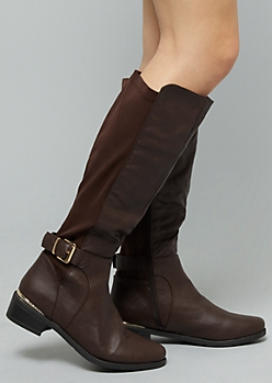 Brown Metallic Side Buckle Knee High Boots - Wide Width