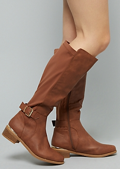 Cognac Metallic Side Buckle Knee High Boots - Wide Width