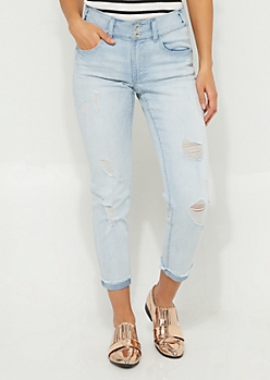 Light Wash Mid Rise Cuffed Ankle Jeggings in Curvy