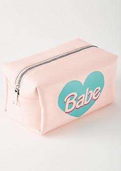 Pink Babe Heart Makeup Bag