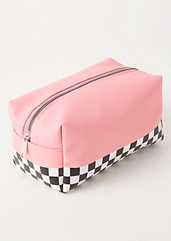 Pink Checkered Print Makeup Bag