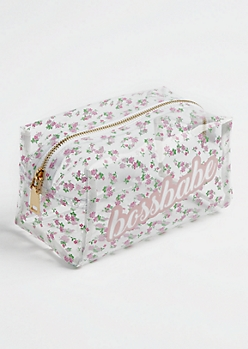 Clear Floral Boss Babe Cosmetic Bag