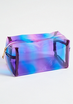 Clear Purple Ombre Structured Makeup Bag