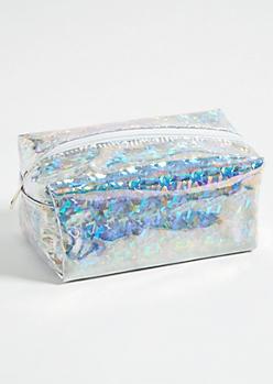 Iridescent Streamer Structured Makeup Bag