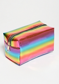 Iridescent Rainbow Structured Makeup Bag
