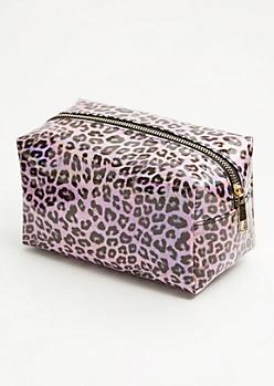 Pink Holographic Leopard Print Makeup Bag