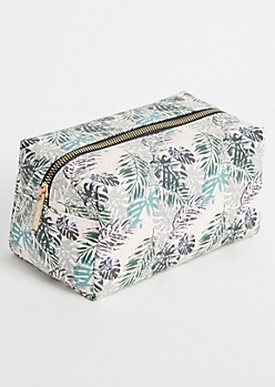 White Tropical Print Makeup Bag