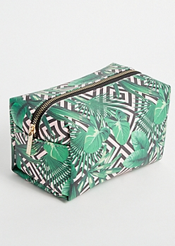 Green Geometric Tropical Print Makeup Bag