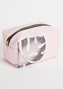 Pink Tropical Print Makeup Bag