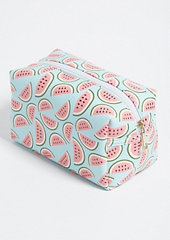 Mint Watermelon Faux Leather Cosmetic Bag