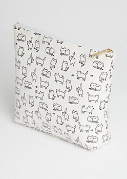 White Cartoon Cats Cosmetic Bag