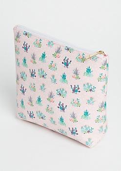 Pink Cactus Terrarium Cosmetic Bag