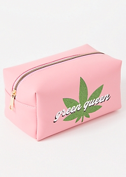 Pink Glitter Green Queen Makeup Bag