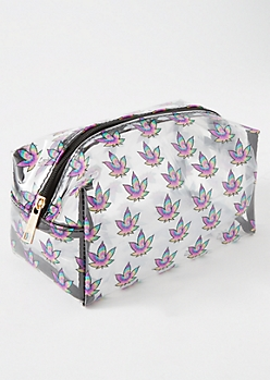 Clear Tie Dye Weed Print Makeup Bag