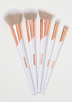 5-Pack White Colorblock Makeup Brushes
