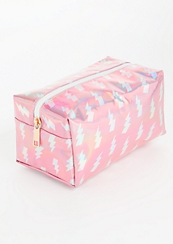 Iridescent Pink Lightning Makeup Bag