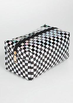 Iridescent Checkered Print Makeup Bag
