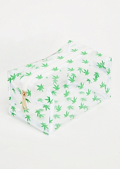 Clear Weed Print Makeup Bag