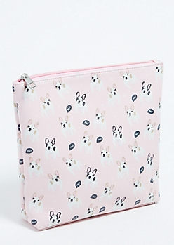 Light Pink French Bulldog Print Makeup Bag