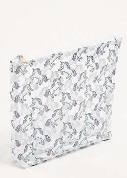 Clear Unicorn Print Makeup Bag