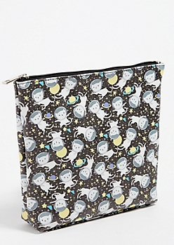 Black Space Cat Print Makeup Bag