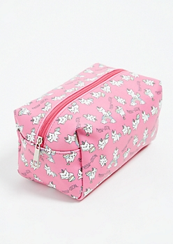 Pink Unicorn Kitten Print Structured Makeup Bag