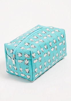 Teal Unicorn Kitten Print Structured Makeup Bag