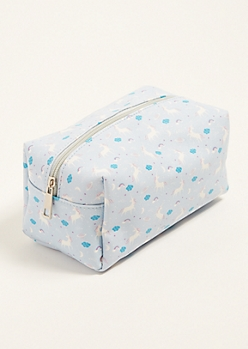 Light Blue Unicorn Print Structured Makeup Bag