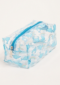Clear Narwhal Print Structured Makeup Bag