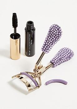 2-Pack Lavender Rhinestone Mascara And Eyelash Curler Set