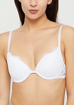 White Eyelash Lace Deep Plunge Bra
