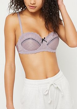 Mauve Decorative Lace Balconette Bra