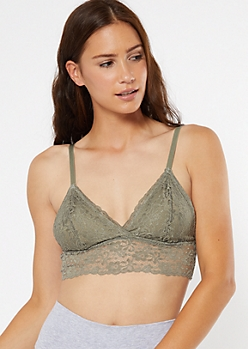 Olive Ribbon Lace Up Side Bralette