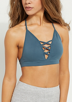 Charcoal Gray Lattice Racerback Bralette