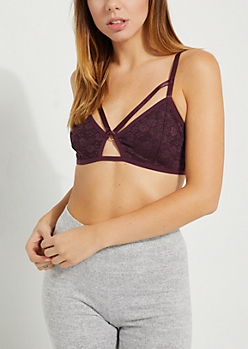 Dark Purple Caged-Front Lace Bralette