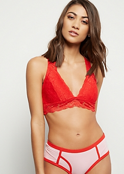 Red Lace To Mesh Racerback Bralette