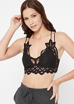 Black Crochet Crisscross Strap Bralette