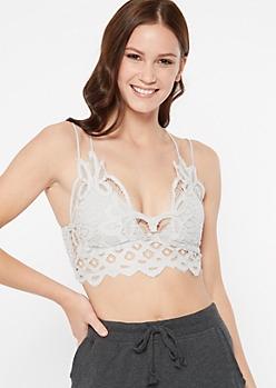 Gray Crochet Crisscross Strap Bralette