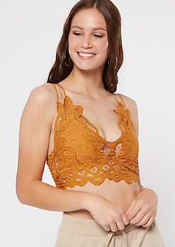 Dark Yellow Crochet Crisscross Strap Bralette