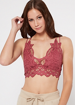 Dark Pink Crochet Crisscross Strap Bralette