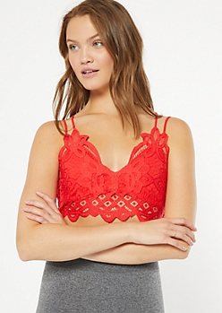 Red Crochet Crisscross Strap Bralette