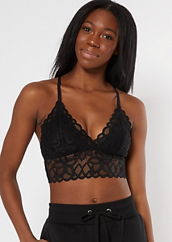 Black Scallop Floral Crochet Crisscross Bralette