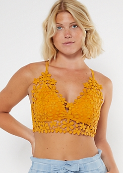 Mustard Crisscross Floral Crochet Bralette