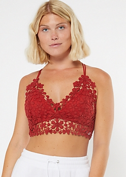 Red Crisscross Floral Crochet Bralette