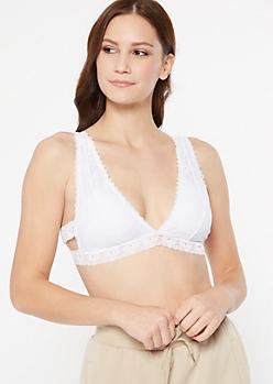 White Floral Lace Cutout V Bralette