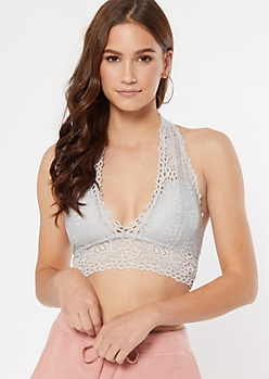 Silver Floral Lace Halter Bralette